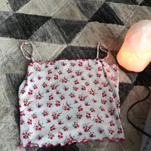 White crop top with pink and orange flowers